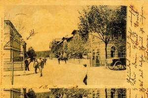 Widok na dawną ulicę Tannenbergstrasse dzisiejszą Kasprowicza - po prawej budynek sztabowy. Pocztówka z 1902r. (Pocztówka z prywatnych zbiorów Rafała Bętkowskiego).